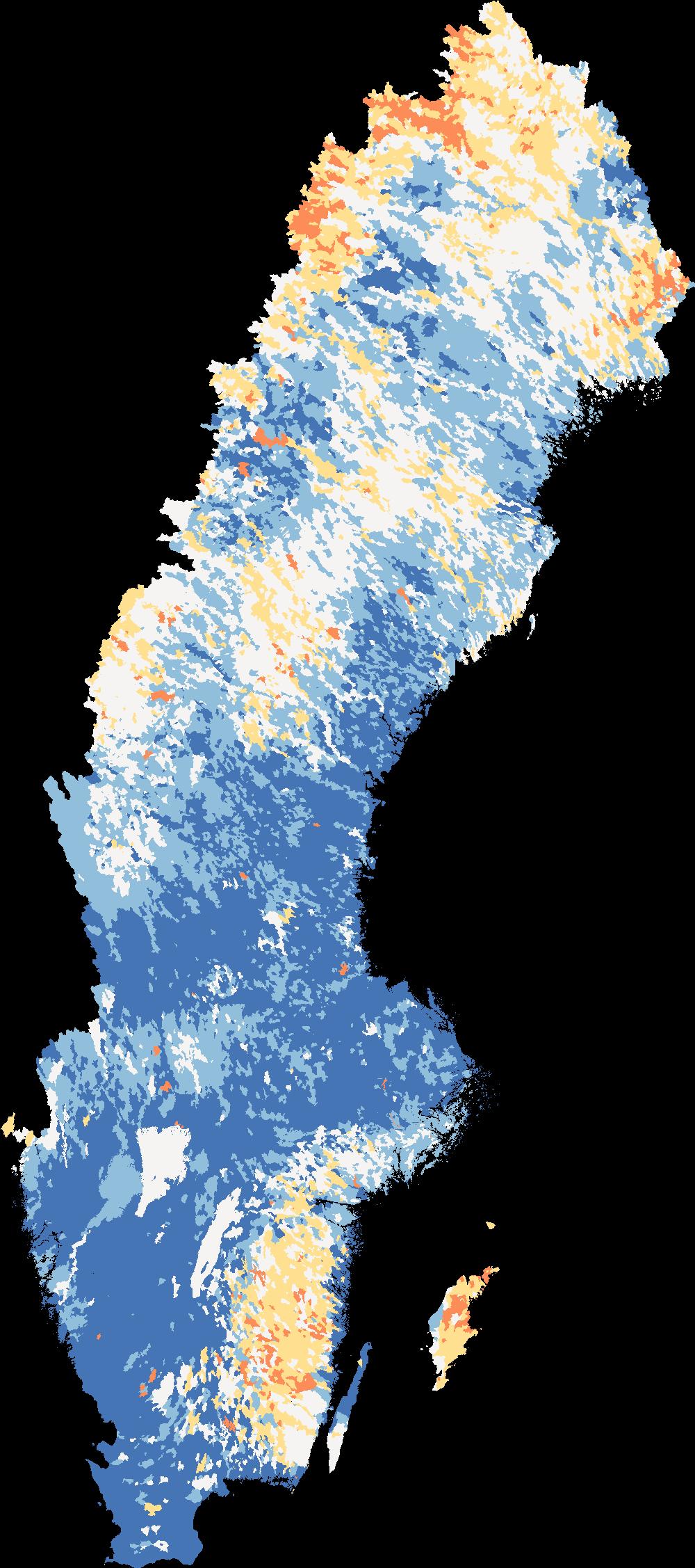 Karta som visar aktuella flöden i Sveriges vattendrag